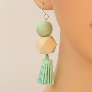 Leather Tassel Drop Earrings Wood Detail
